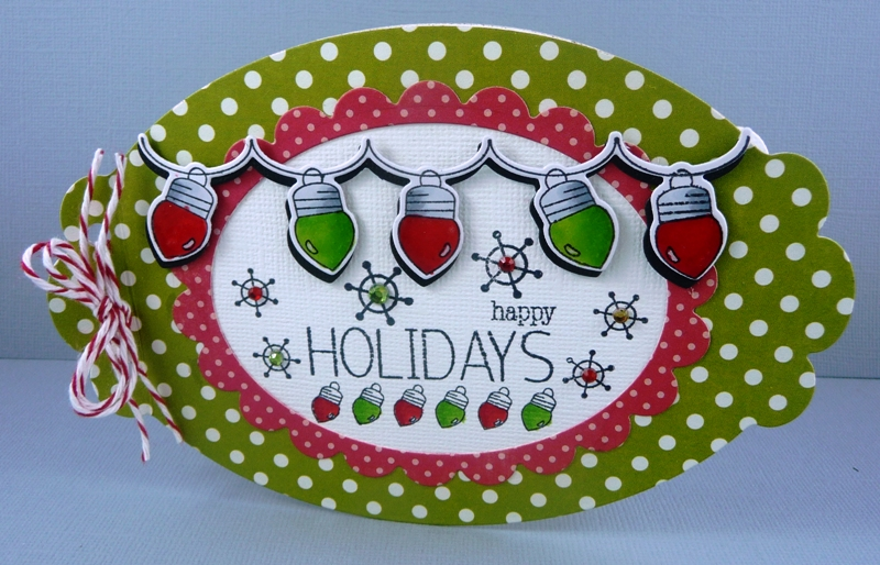 """The stamps and die cut are from Your Next Stamp """"Light up the Holidays"""".  Cute hey? The card shape is a Spellbinder die """"Label Ten"""". - Twinkle-Twinkle Christmas Lights Cards & Co"""